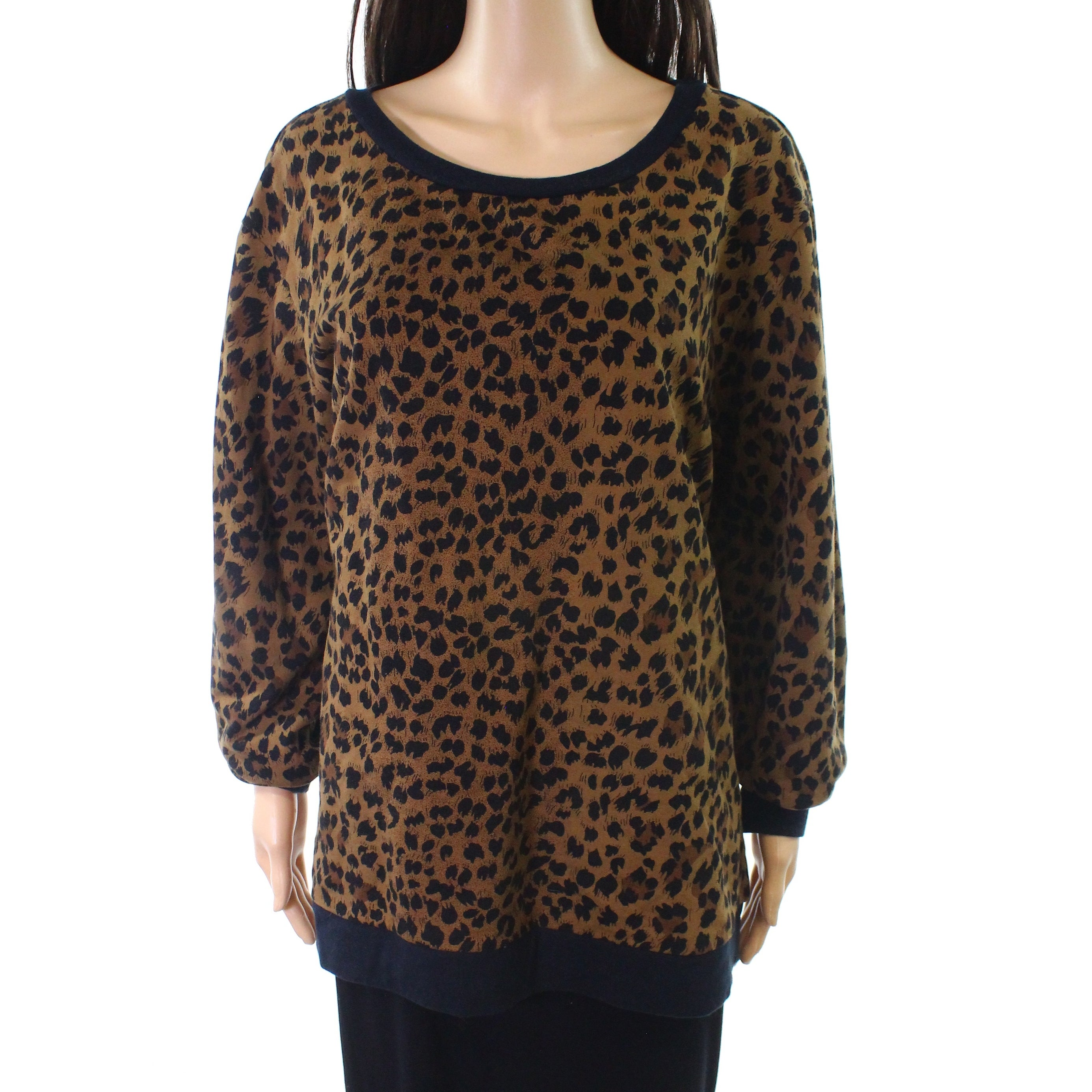 Joie new brown womens size animal print pull over crewneck sweater free  shipping on orders over 0c221fb26