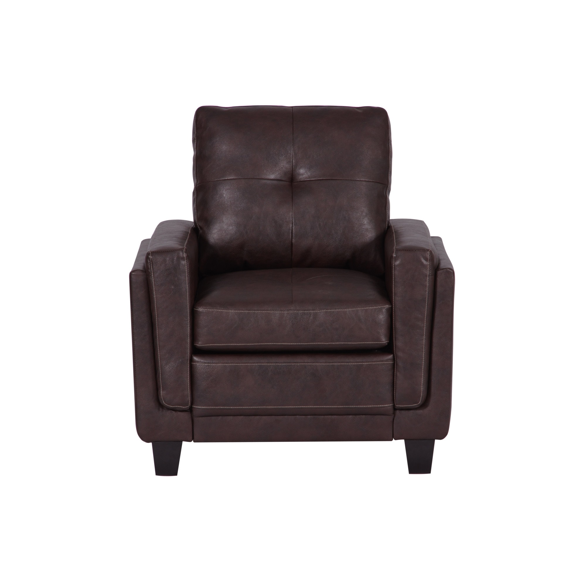 Chocolate Brown Accent Chairs.Delacora Hm Ds A192 681 33 1 2 Wide Hardwood Framed Bonded Leather Accent Chair Rich Chocolate Brown N A