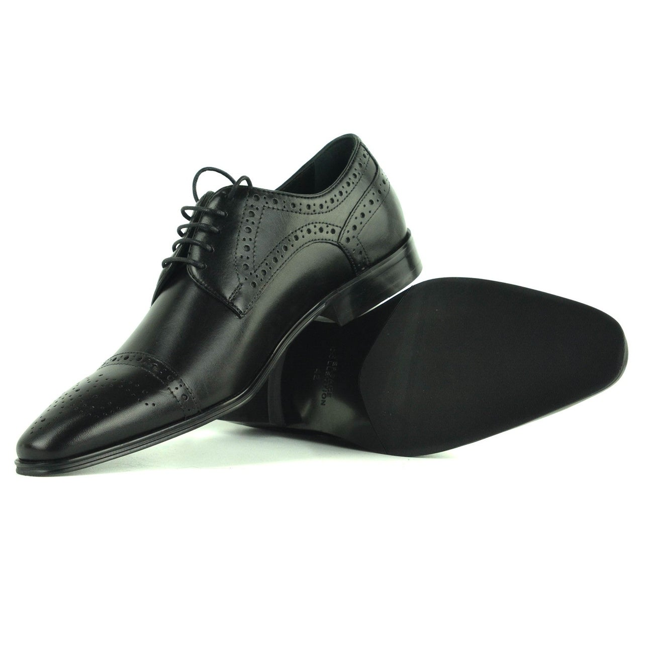 ad9e64383c8 Shop Versace Collection Men s Black Leather Cap Toe Oxford Shoes - Free  Shipping Today - Overstock - 23536174