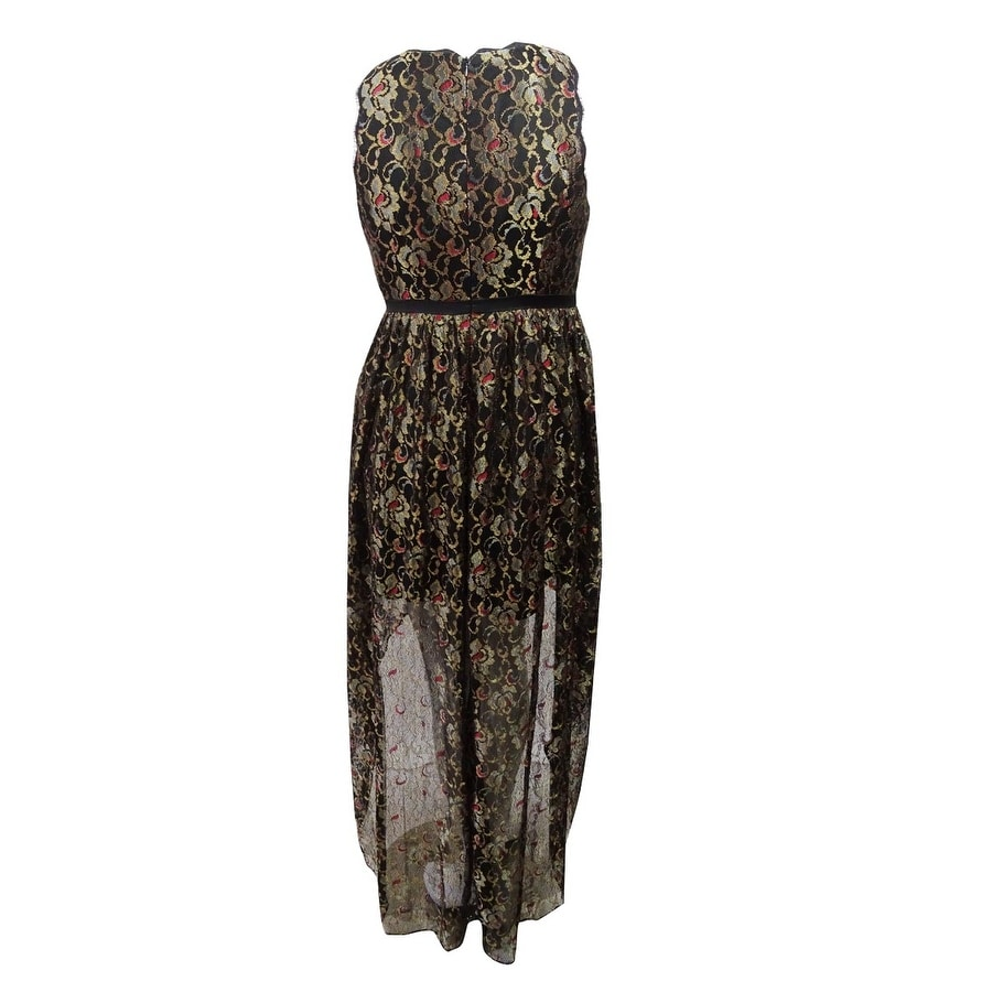 69c801028435 Shop Adrianna Papell Women's Metallic Lace High-Low Gown (16, Black/Gold) -  Black/Gold - 16 - Free Shipping Today - Overstock - 26968958