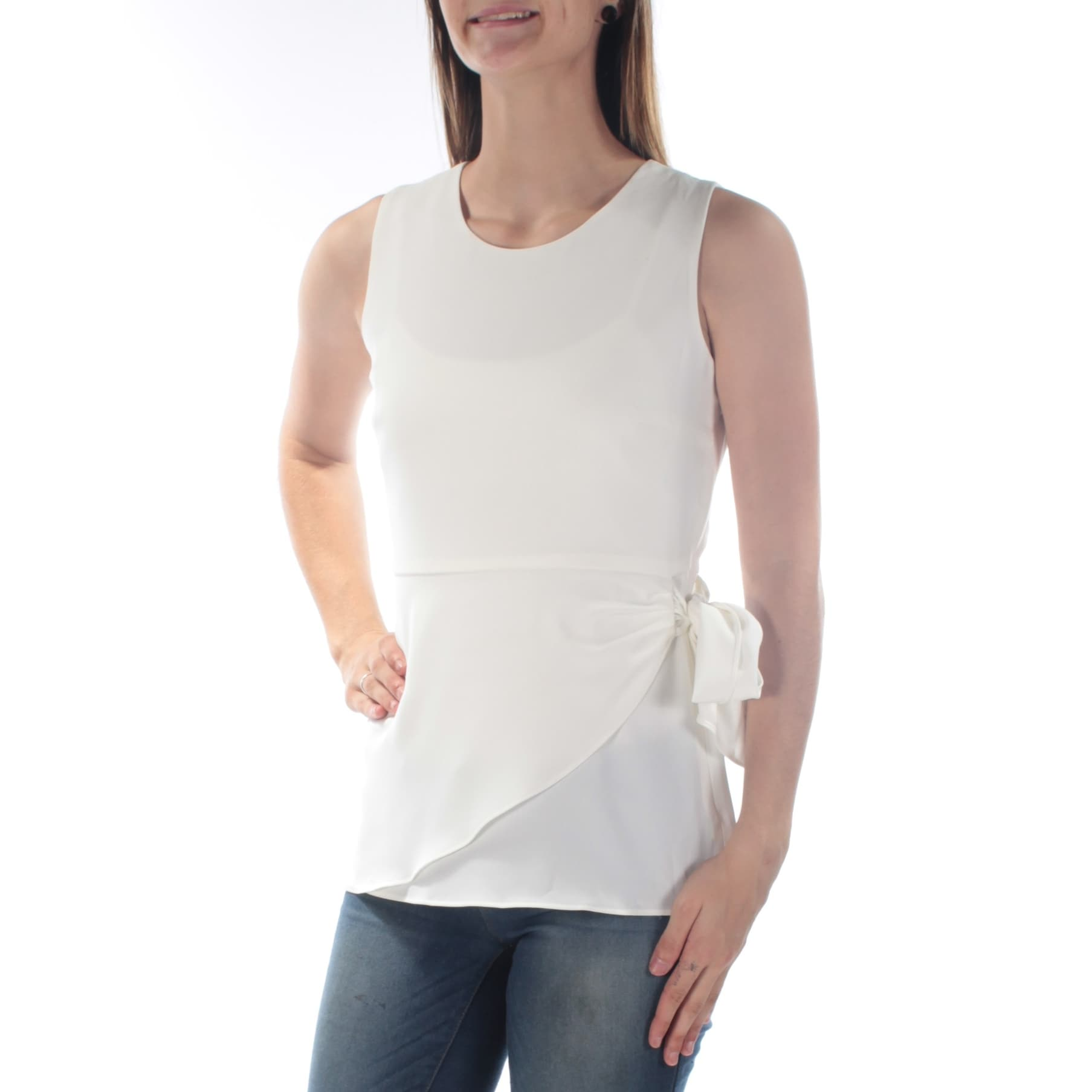 58c8d80716fa4 Shop CALVIN KLEIN Womens White Sleeveless Jewel Neck Wear To Work Top Size   4 - On Sale - Free Shipping On Orders Over  45 - Overstock - 21385898