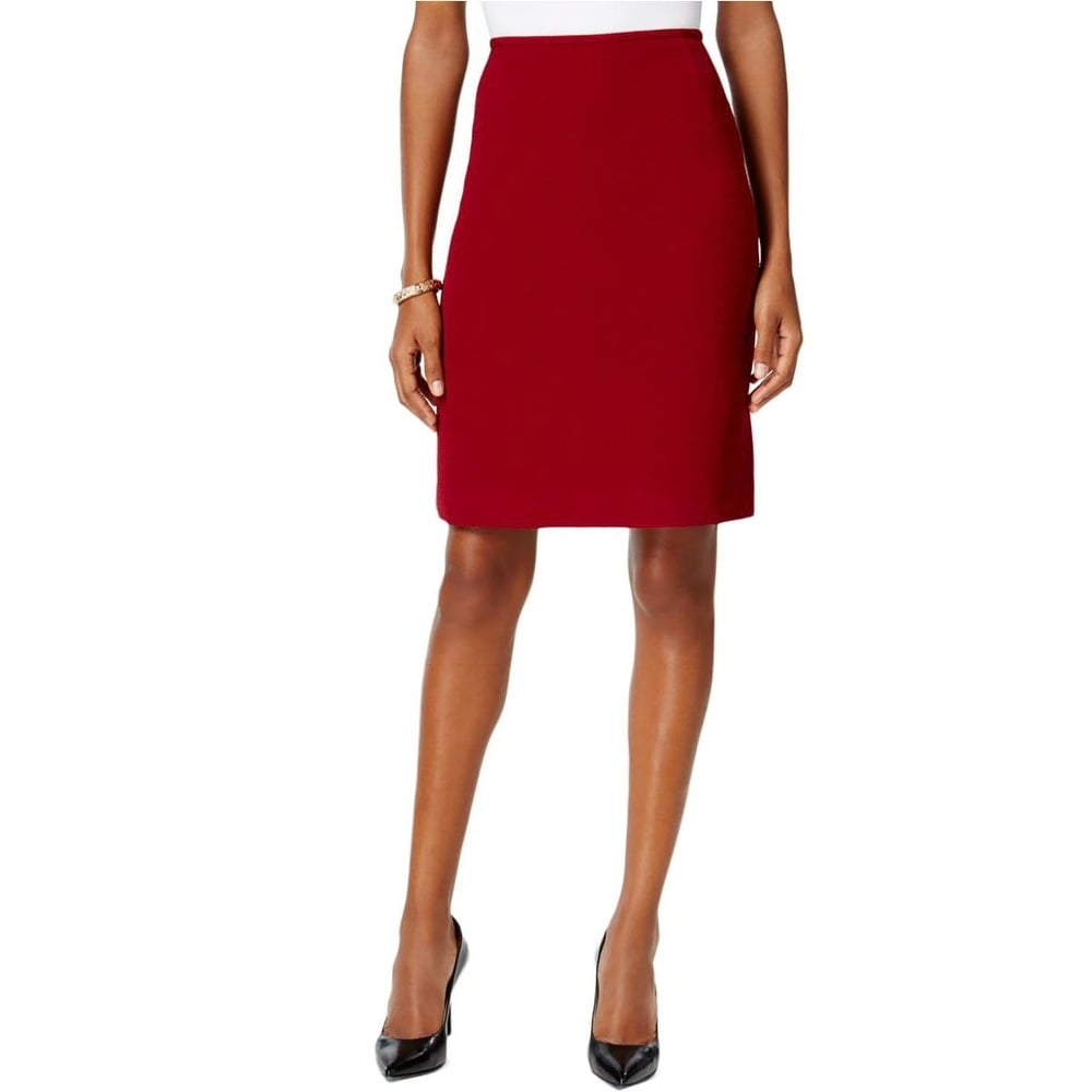 d79ec6cdc3 Shop Tahari ASL Petite Textured Pencil Skirt Brick Red - 6P - Free Shipping  On Orders Over $45 - Overstock - 20088764