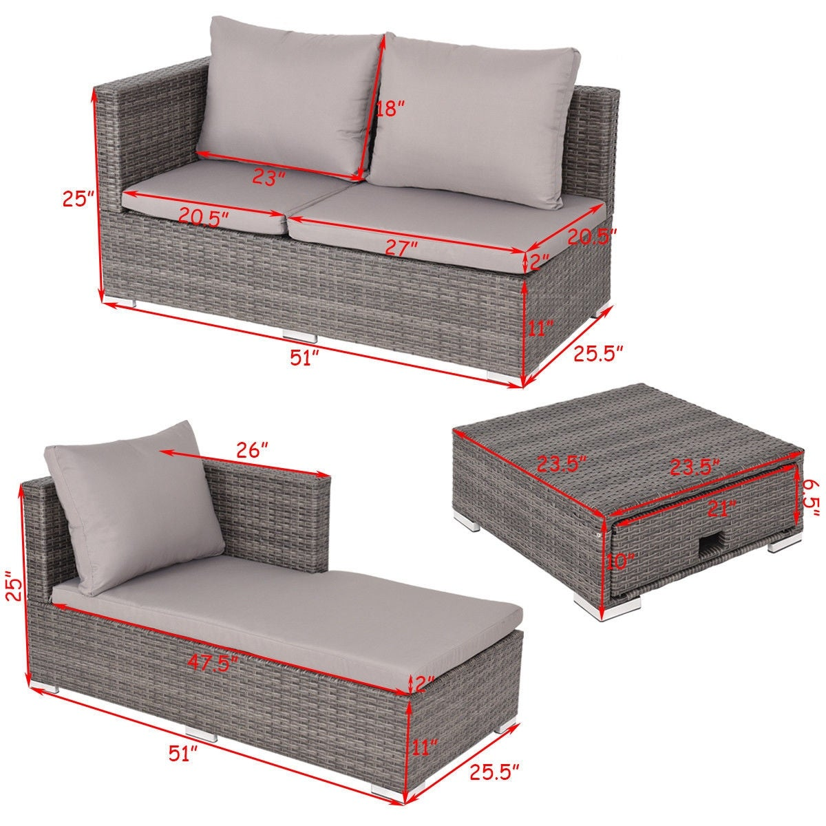Shop Costway 3PCS Rattan Wicker Sofa Furniture Set Steel Frame Adjustable  Seat Patio Garden   Gray   Free Shipping Today   Overstock.com   22363639