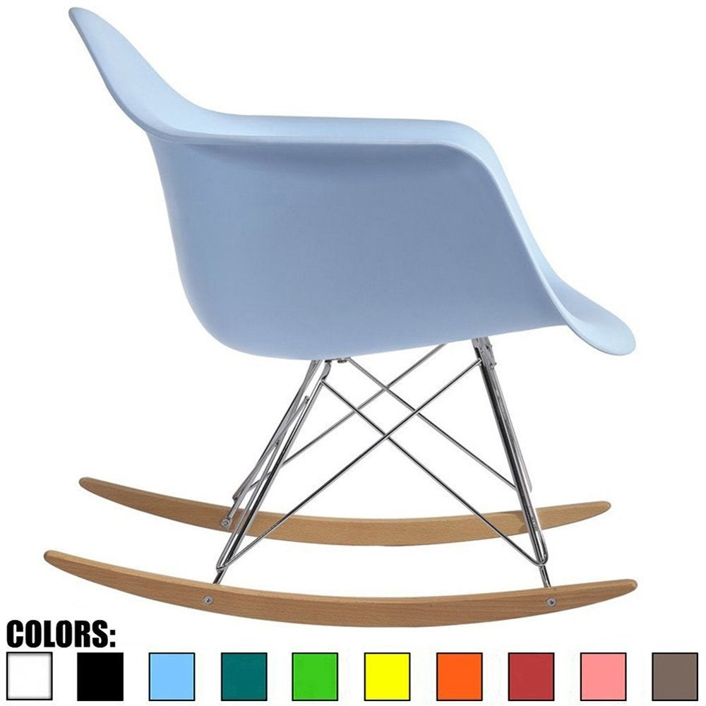 Shop 2xhome Blue Natural Wood Metal Wire Plastic Rocker Chair ...
