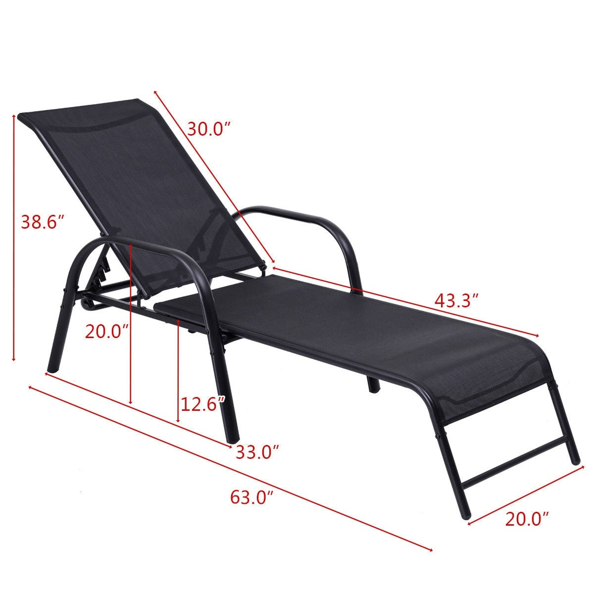 Goplus Outdoor Patio Chaise Lounge Chairs Sling Lounges Recliner Adjule Back Black Free Shipping Today 23140352