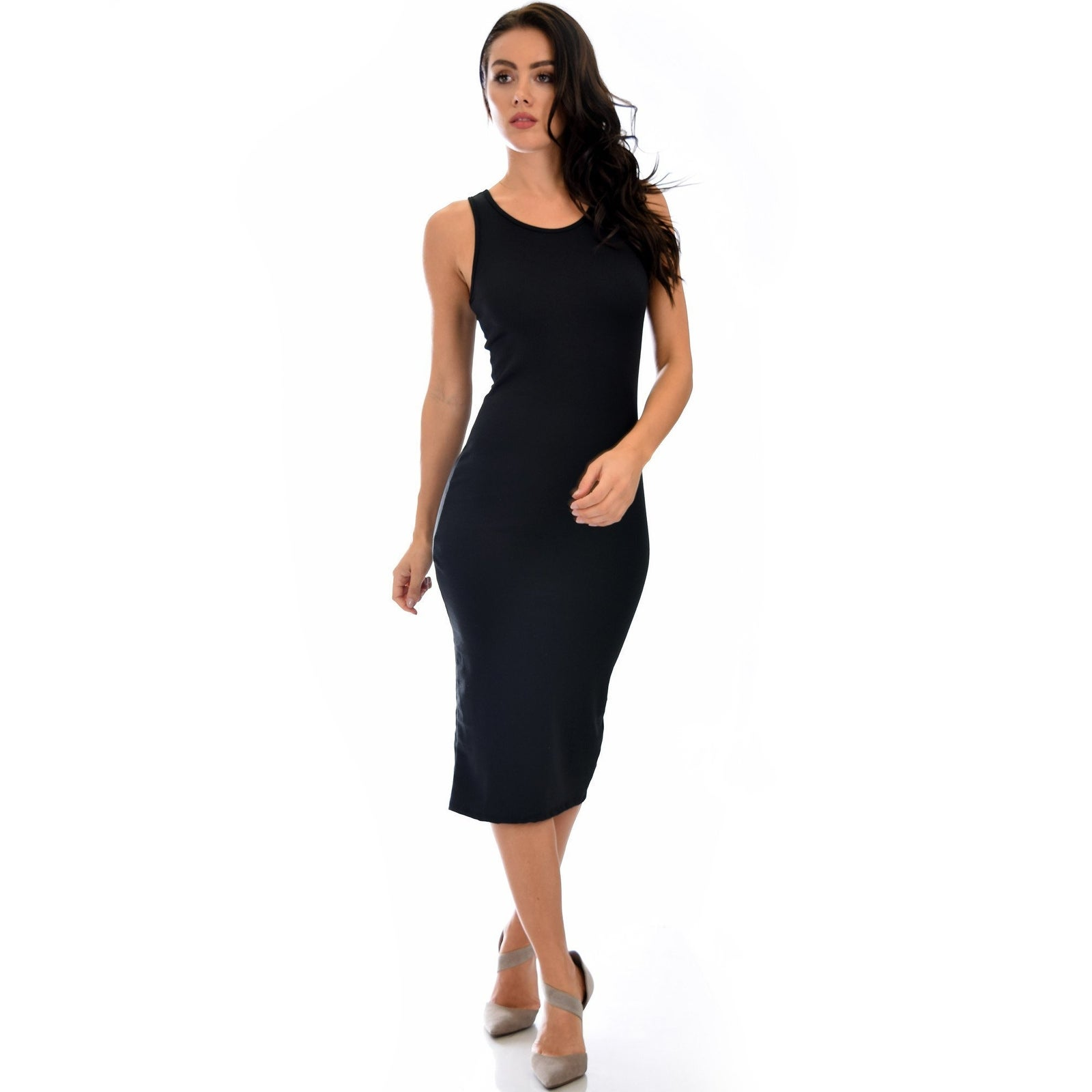 dbbd6918892c Shop Hourglass Bodycon Black Midi Dress -Medium - Free Shipping On Orders  Over $45 - Overstock - 23108715