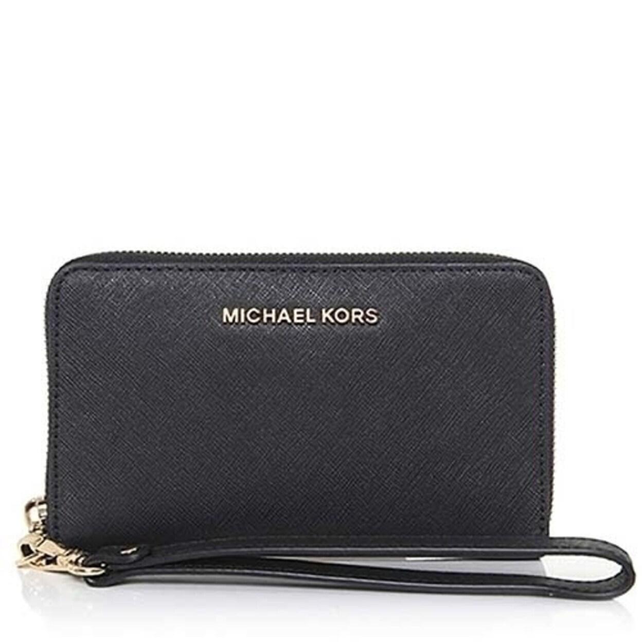 9e8161a3e6517a Michael Michael Kors Jet Set Travel Large Flat Multi-Function Phone Case  Saffiano Leather 18K