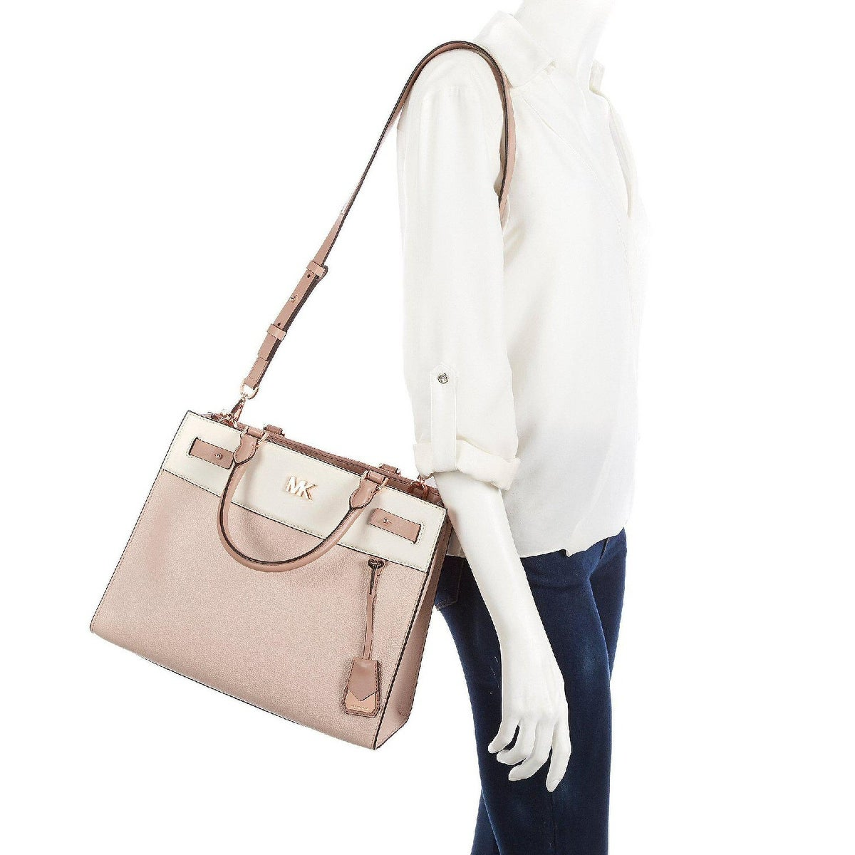 9e339fe79fd8 Shop MICHAEL Michael Kors Reagan Large Leather Satchel Soft Pink/Light  Cream/Fawn - One Size - Free Shipping Today - Overstock - 27296242