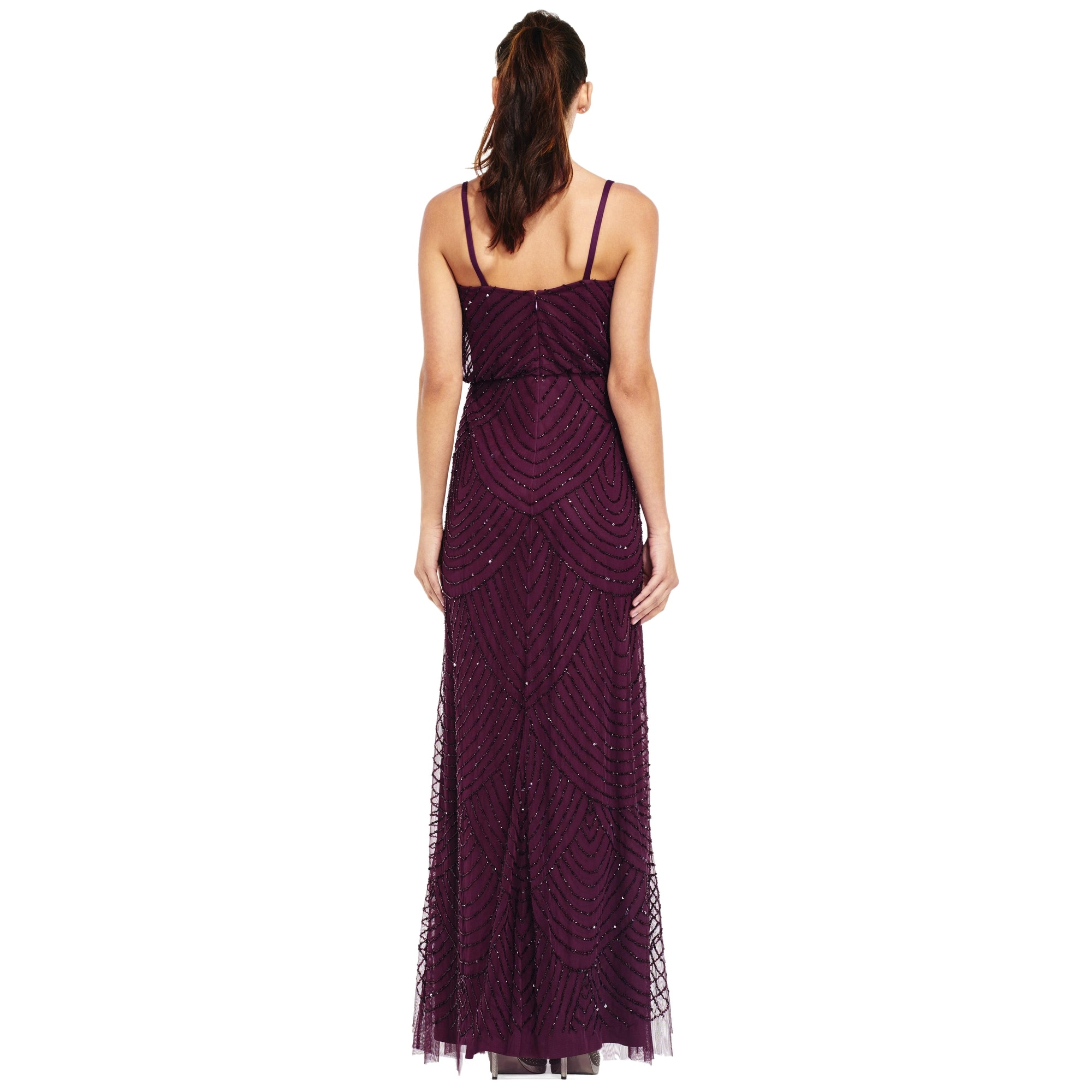 Adrianna Papell Art Deco Beaded Blouson Evening Gown Dress - 6 ...