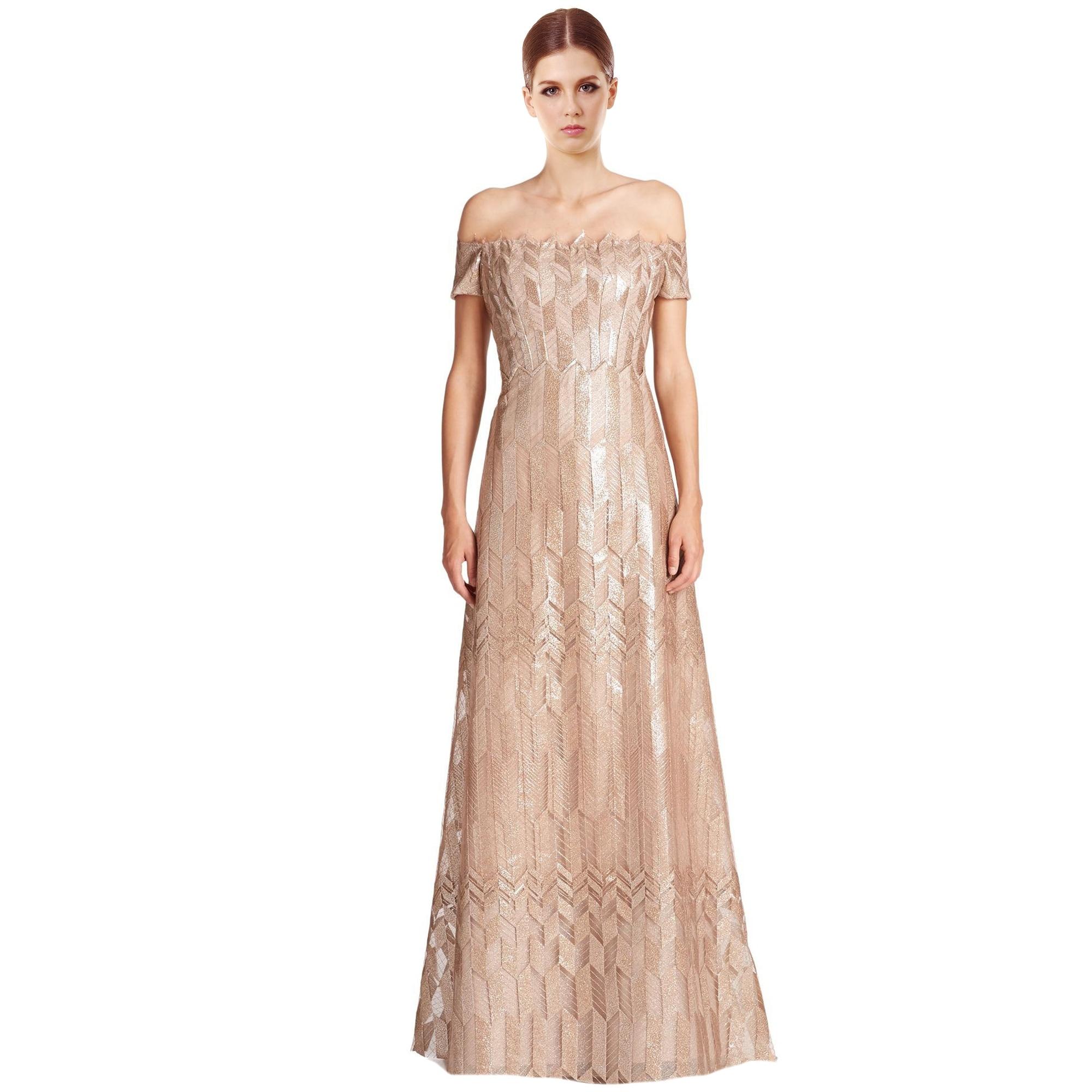 Shop Rene Ruiz Art Deco Cap Sleeved Long Ball Evening Gown Dress ...