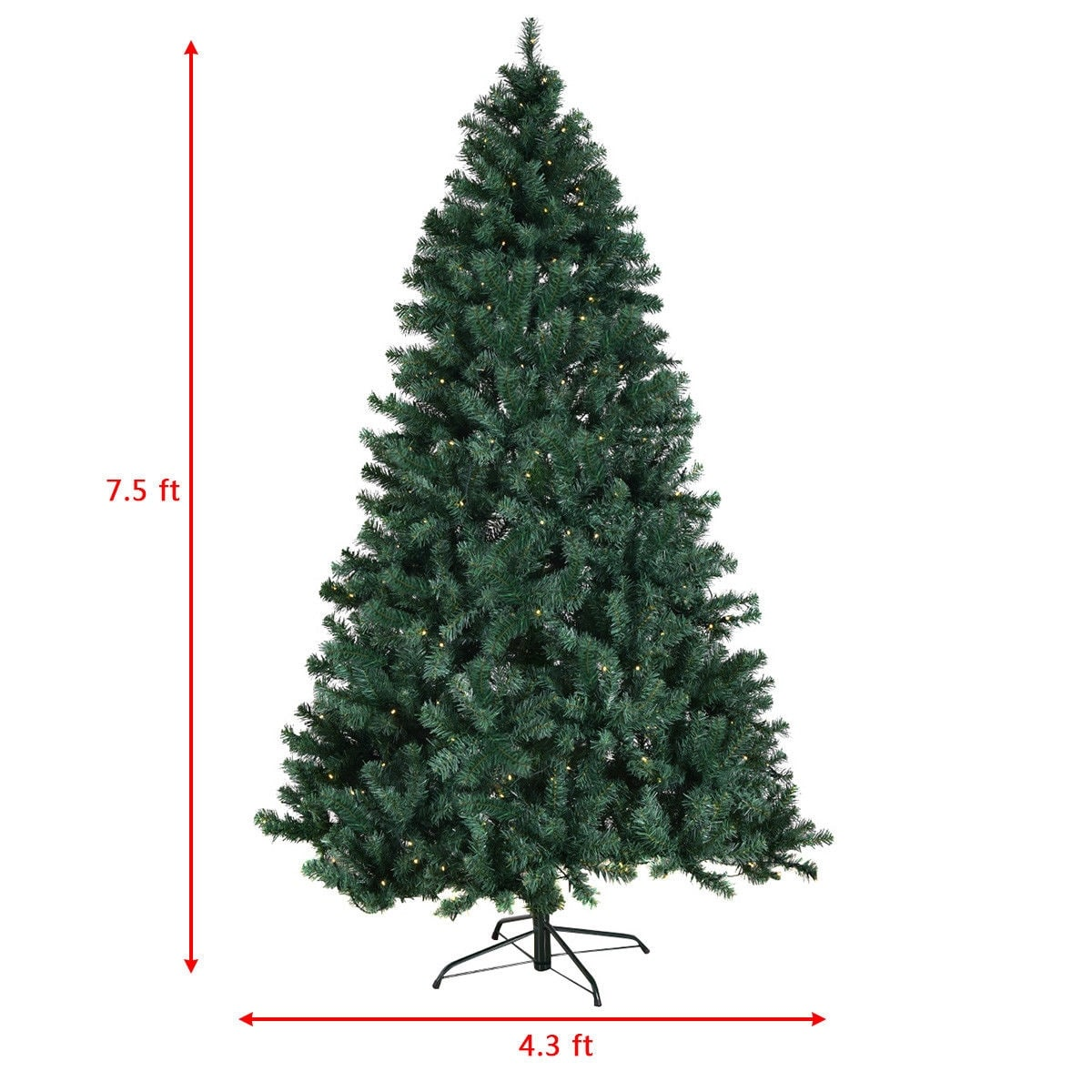 shop costway 75ft pre lit pvc artificial christmas tree hinged w 400 led lights stand new free shipping today overstockcom 18512523