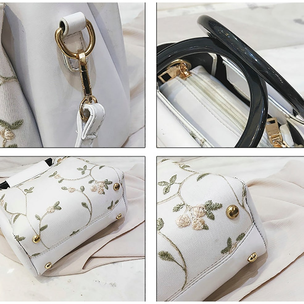 bd61d13bea48 QZUnique Women's PU Leather Tote Bag Floral Printed Lace Pattern Cross Body  Shoulder Bag Handbag Purse