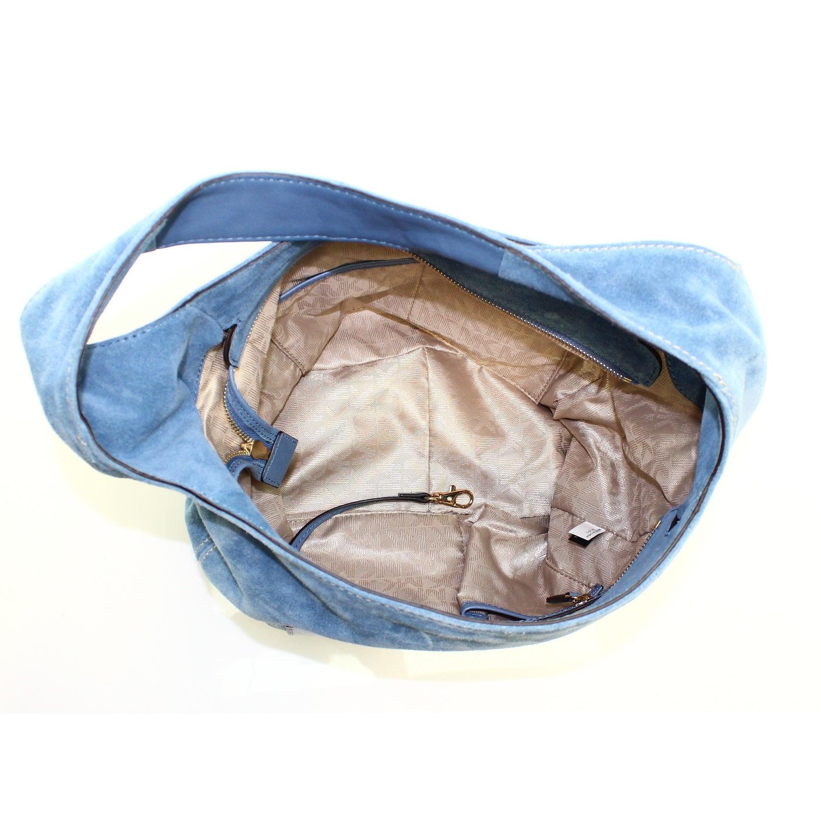 97827c617564 Shop Michael Kors NEW Blue Denim Suede Leather Lena Large Shoulder Bag Purse  - Free Shipping Today - Overstock - 16358640