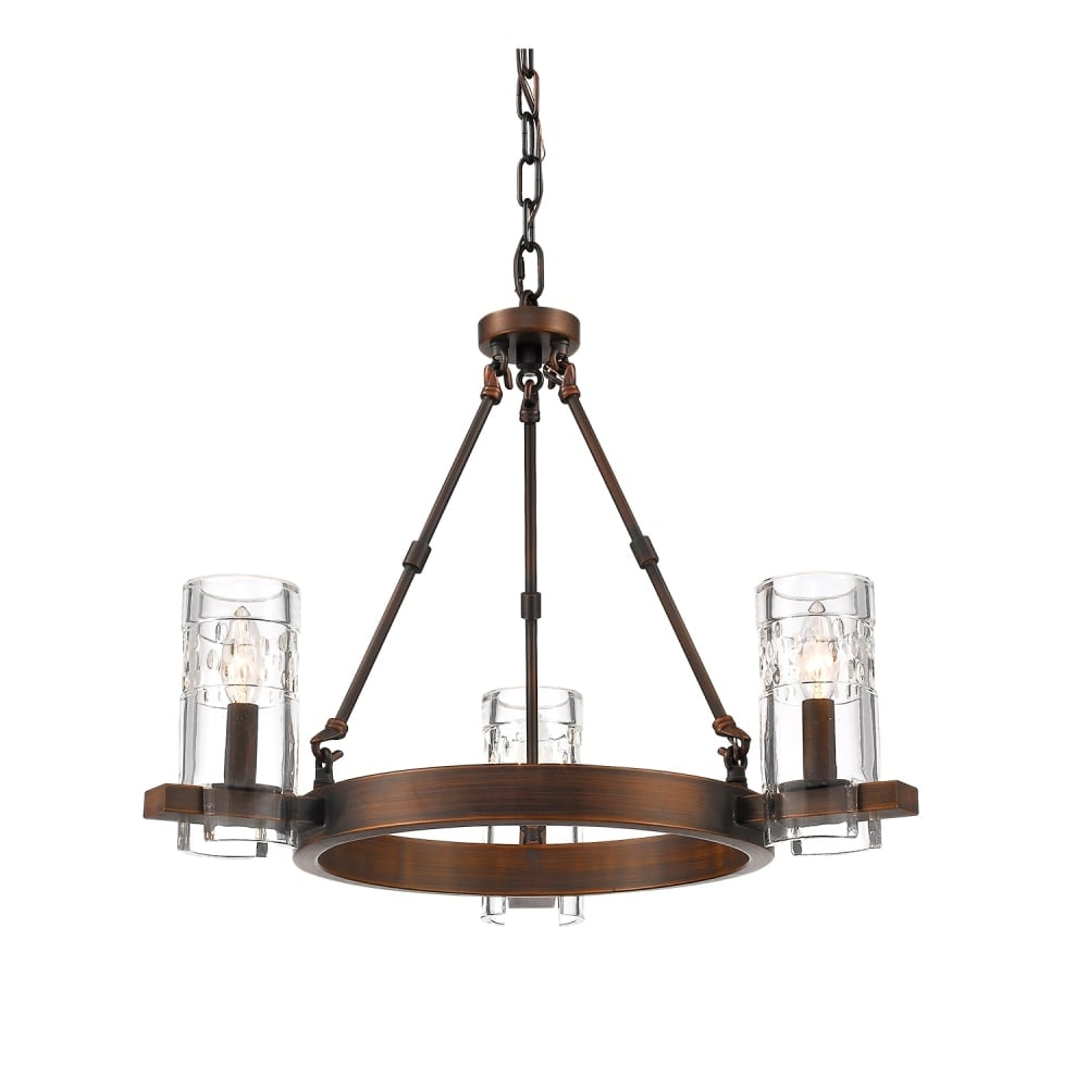 Shop millennium lighting 803 tulsa 3 light 24 wide chandelier with glass shades rubbed bronze n a free shipping today overstock com 17170899