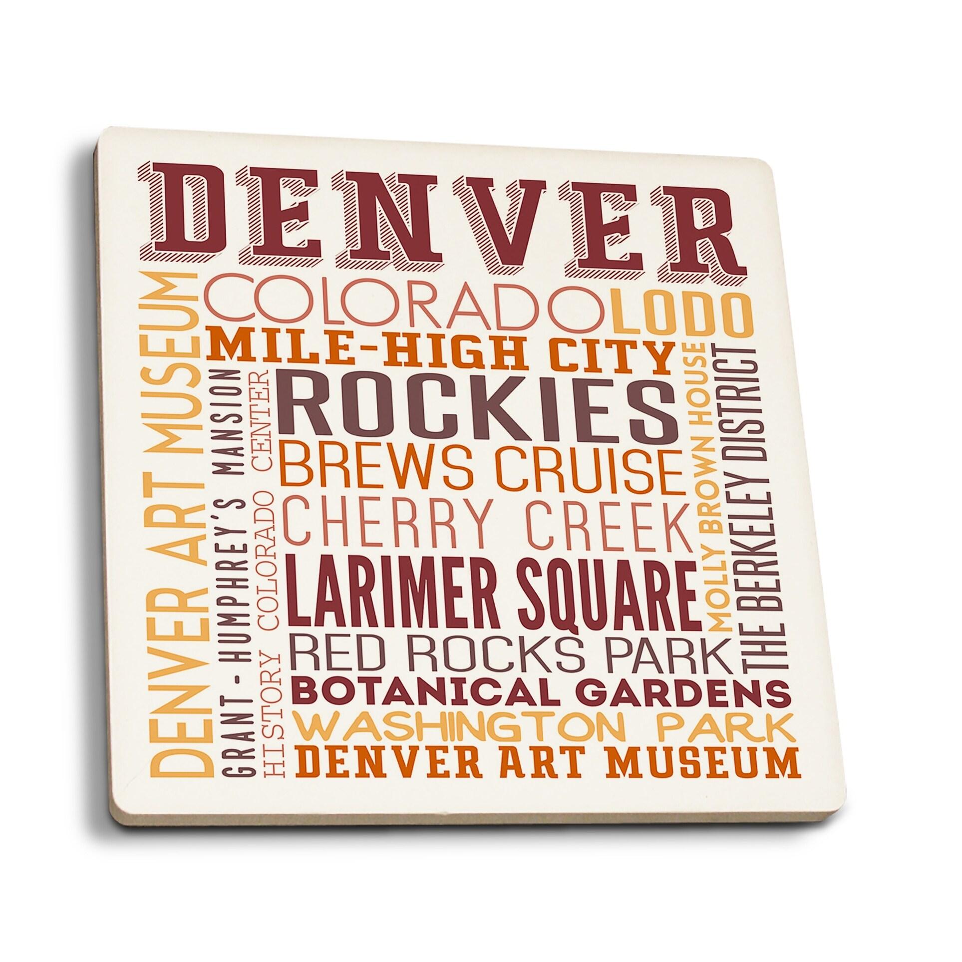 Denver, Colorado - Typography - Lantern Press Artwork (Set of 4 Ceramic  Coasters - Cork-backed, Absorbent) - Ceramic Coasters