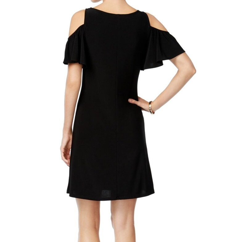 d6ea6fefb00f Shop MSK NEW Black Womens Medium M Cold-Shoulder Tassel Necklace Sheath  Dress - Free Shipping On Orders Over $45 - Overstock - 21835072