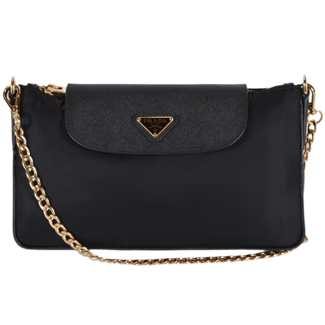 ce1c4e13046a Prada 1BG085 Black Nylon Leather Bandoliera Chain Crossbody Purse Bag