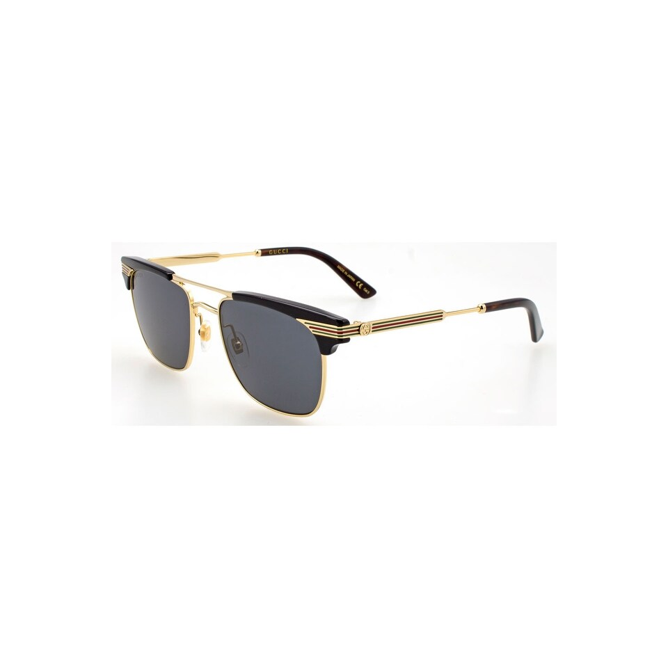 5216607ba3 Shop Gucci Grey Square Sunglasses Gg0287S-001 52 - BLACK-GOLD-GREY - One  Size - Free Shipping Today - Overstock - 24266483