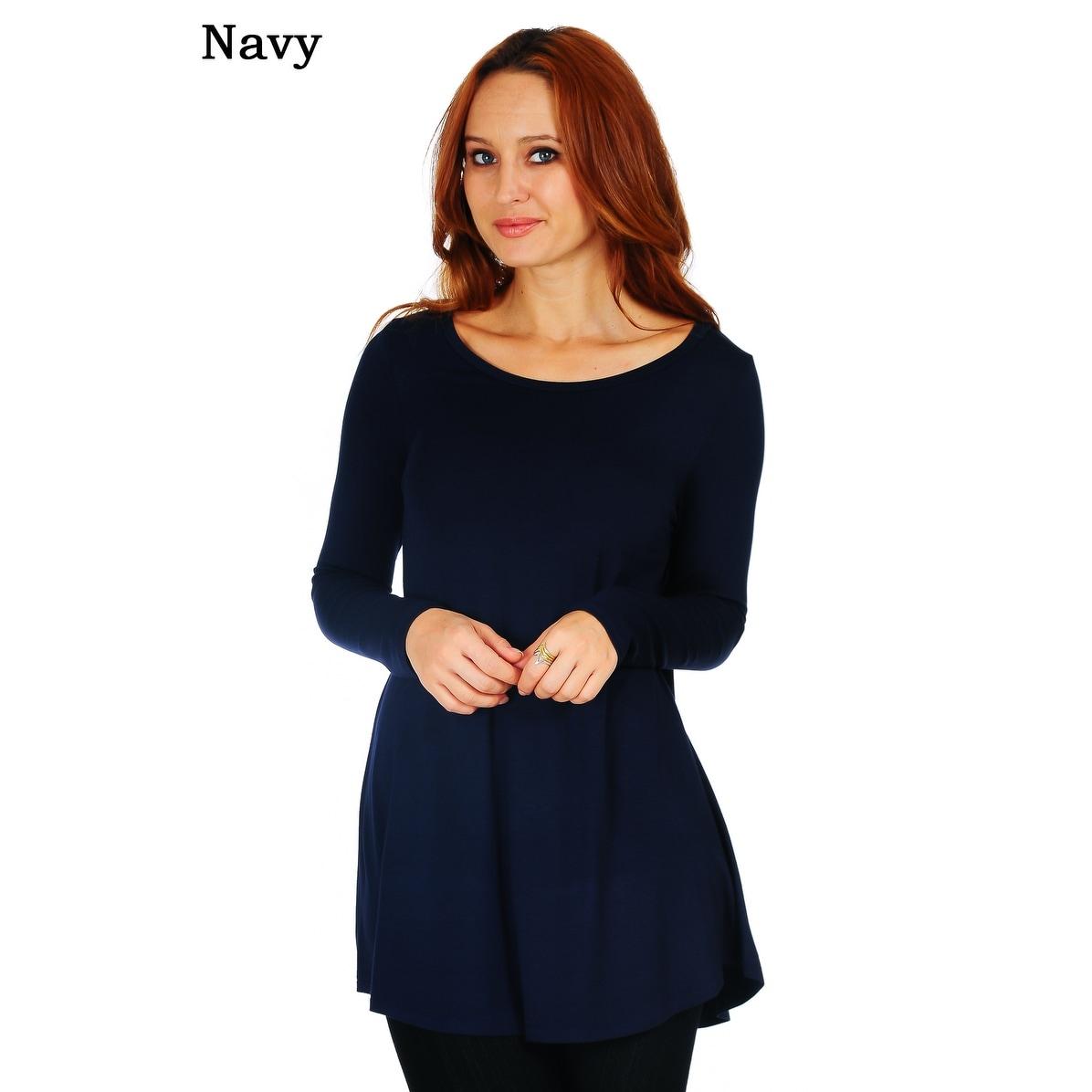 Shop Simply Ravishing Womens Scoop Long Sleeve Pleated Flare Blouse