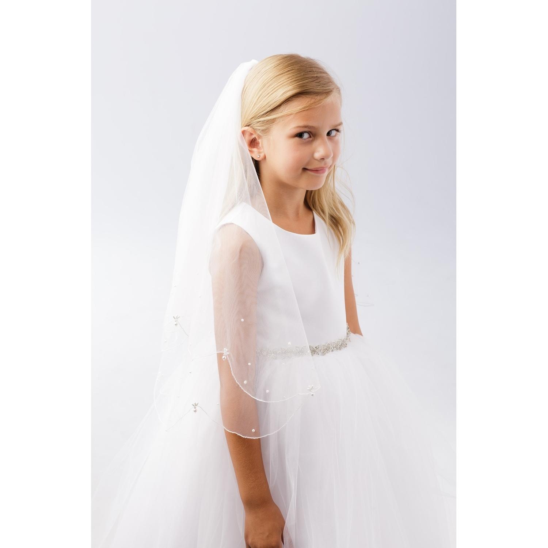 Girls White Scalloped Pearl Drops Detail Plain Communion Flower Girl