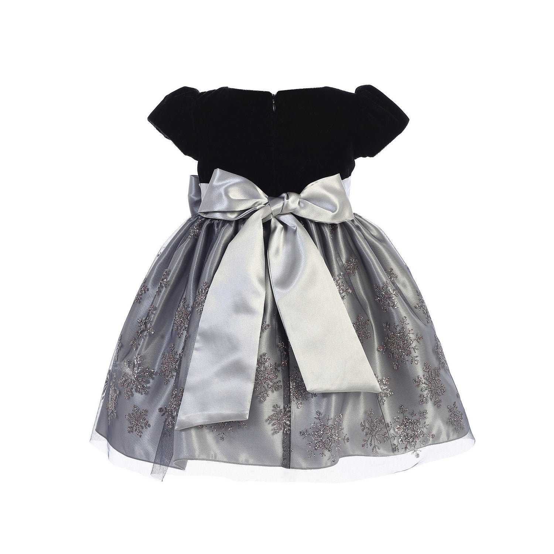0e3fd9779099 Shop Lito Girls Silver Black Velvet Glitter Tulle Snowflake Christmas Dress  - Free Shipping Today - Overstock - 23540183