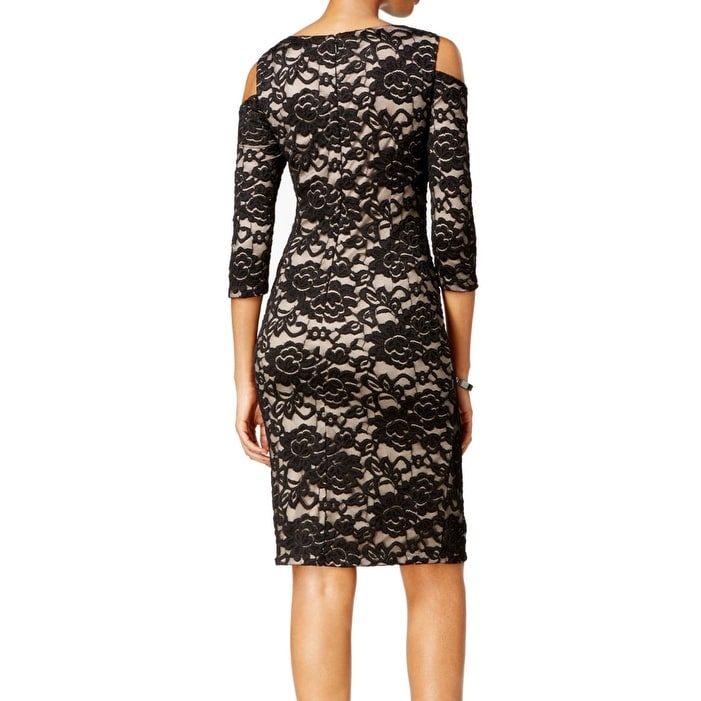92fc4884f41e Shop Jessica Howard NEW Black Womens Size 6 Cold-Shoulder Lace Sheath Dress  - Free Shipping On Orders Over $45 - Overstock.com - 18903903