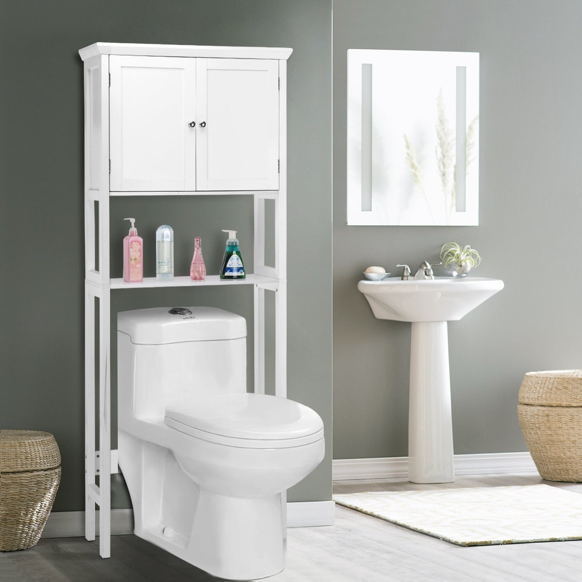 Shop Costway Toilet Storage Space Saver Towel Rack Shelf Cabinet ...