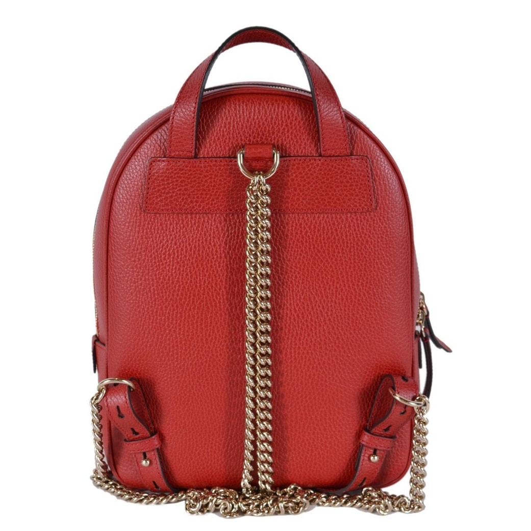 Shop Gucci Women s Red Leather SOHO Chain Strap Small Backpack Purse Bag -  Ships To Canada - Overstock - 25575972 37b272a3ab4c1