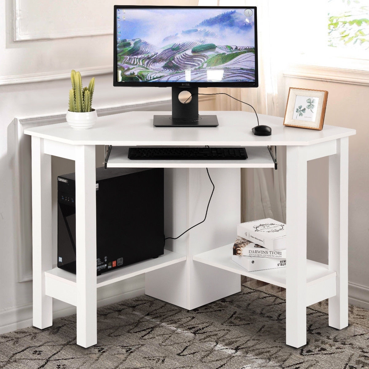 Costway Wooden Corner Desk With Drawer Computer Pc Table Study Office Room White On Free Shipping Today 22893653