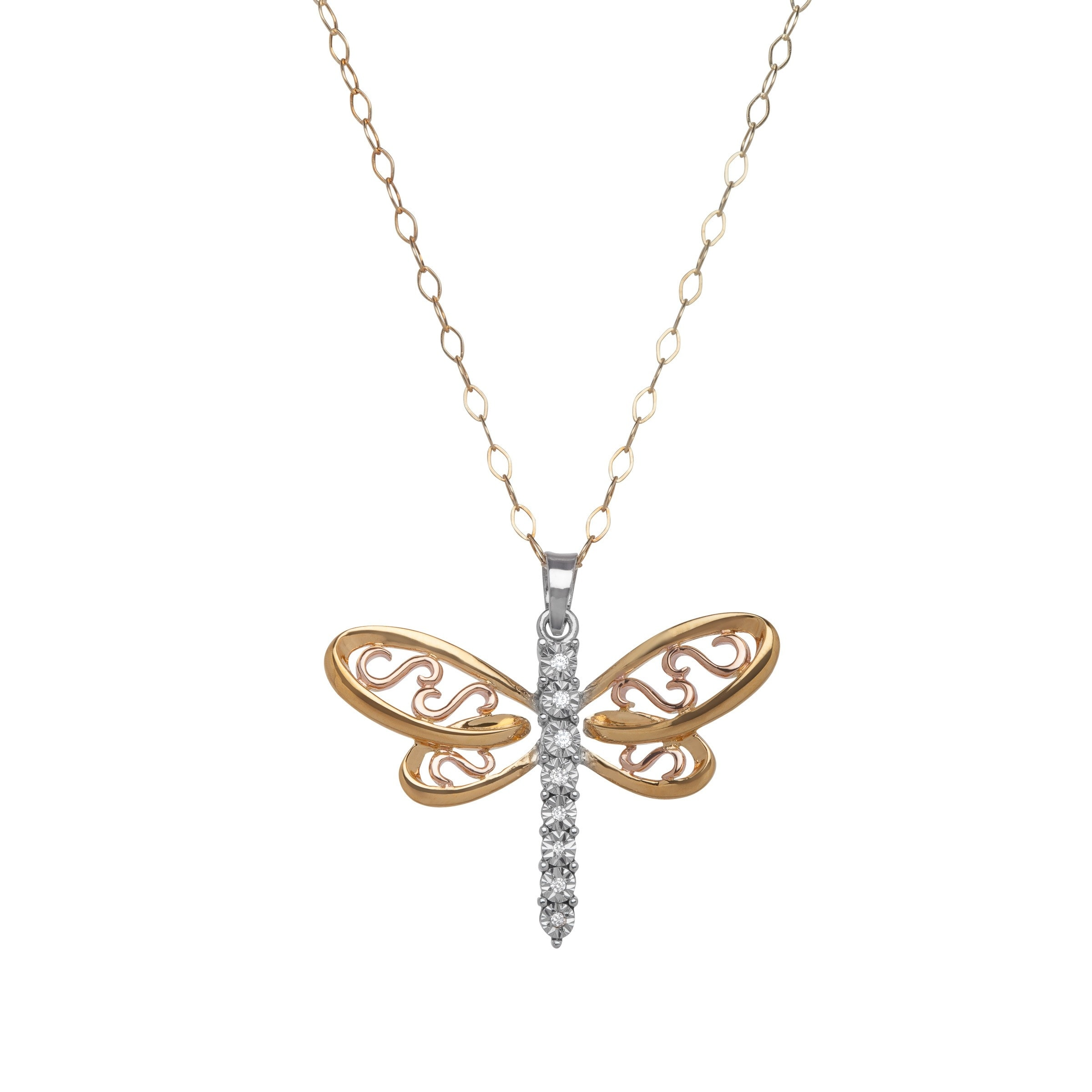 views rose pendant more diamonds with gold dragonfly