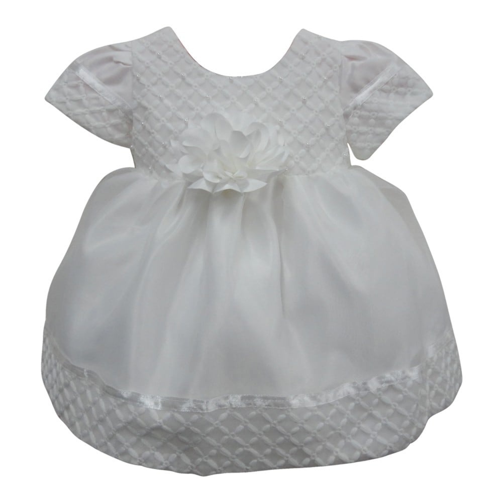 Shop Little Girls Off White Diamond Style Beaded Embroidered Flower