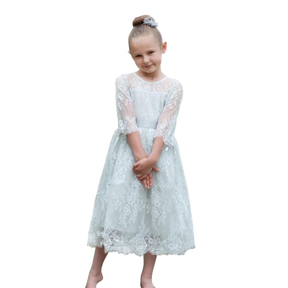 Think Pink Bows Baby Girls Pearl Grey Lace Versailles Flower Girl