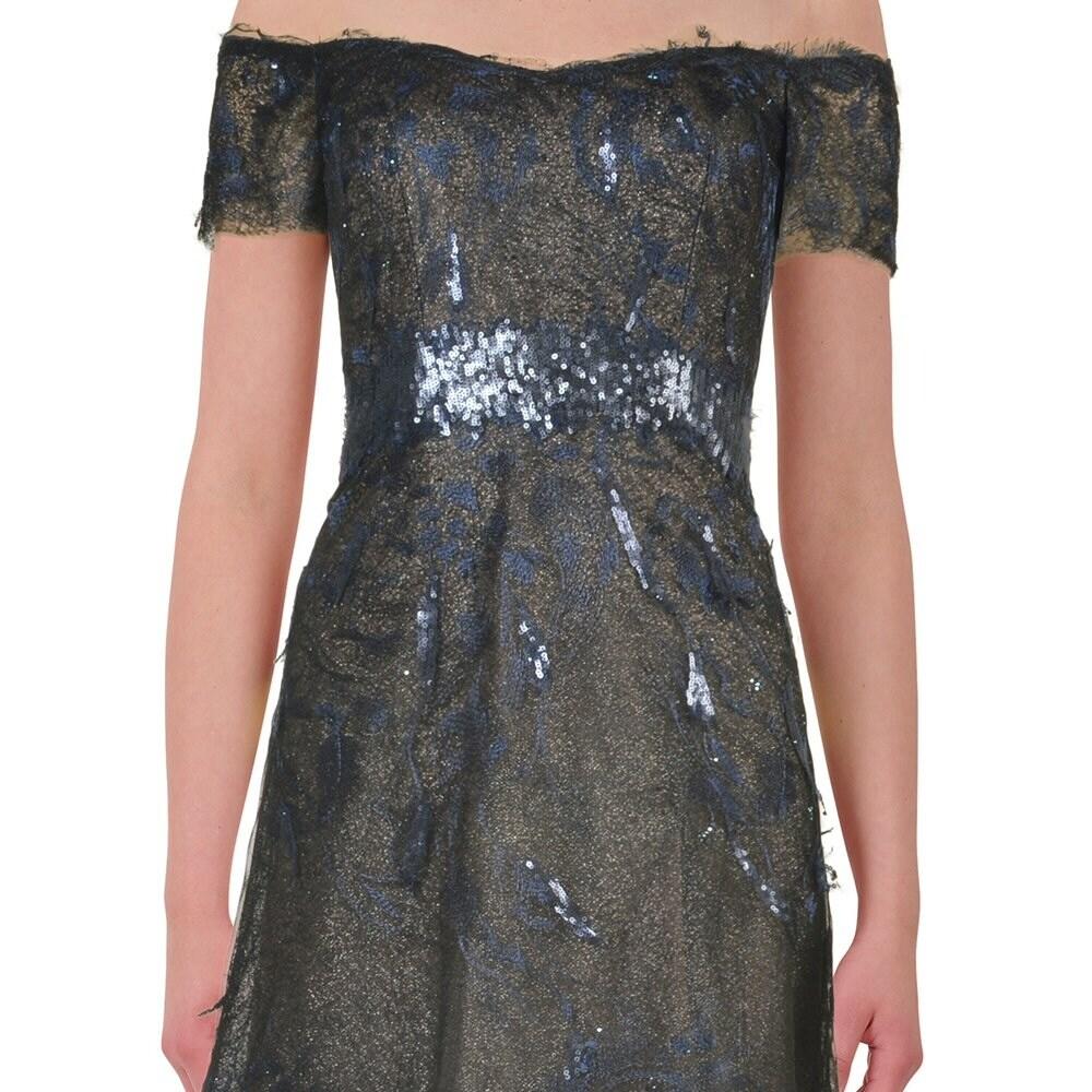 Shop Rene Ruiz Sequin Embellished Tulle Off Shoulder Evening Ball ...
