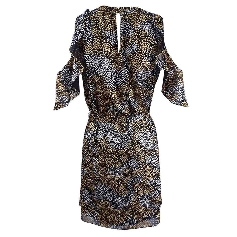 a85b8e5eb2 Shop Michael Kors Women s Metallic Cold-Shoulder Dress - Silver Gold - On  Sale - Free Shipping Today - Overstock - 22990121