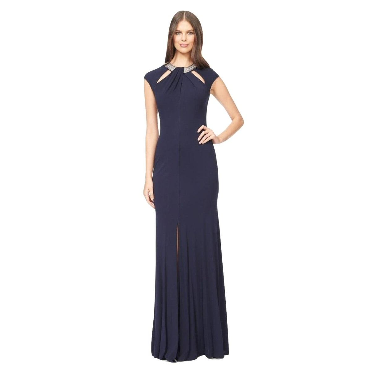 Shop David Meister Embellished Cutout Jersey Evening Gown Dress Navy ...