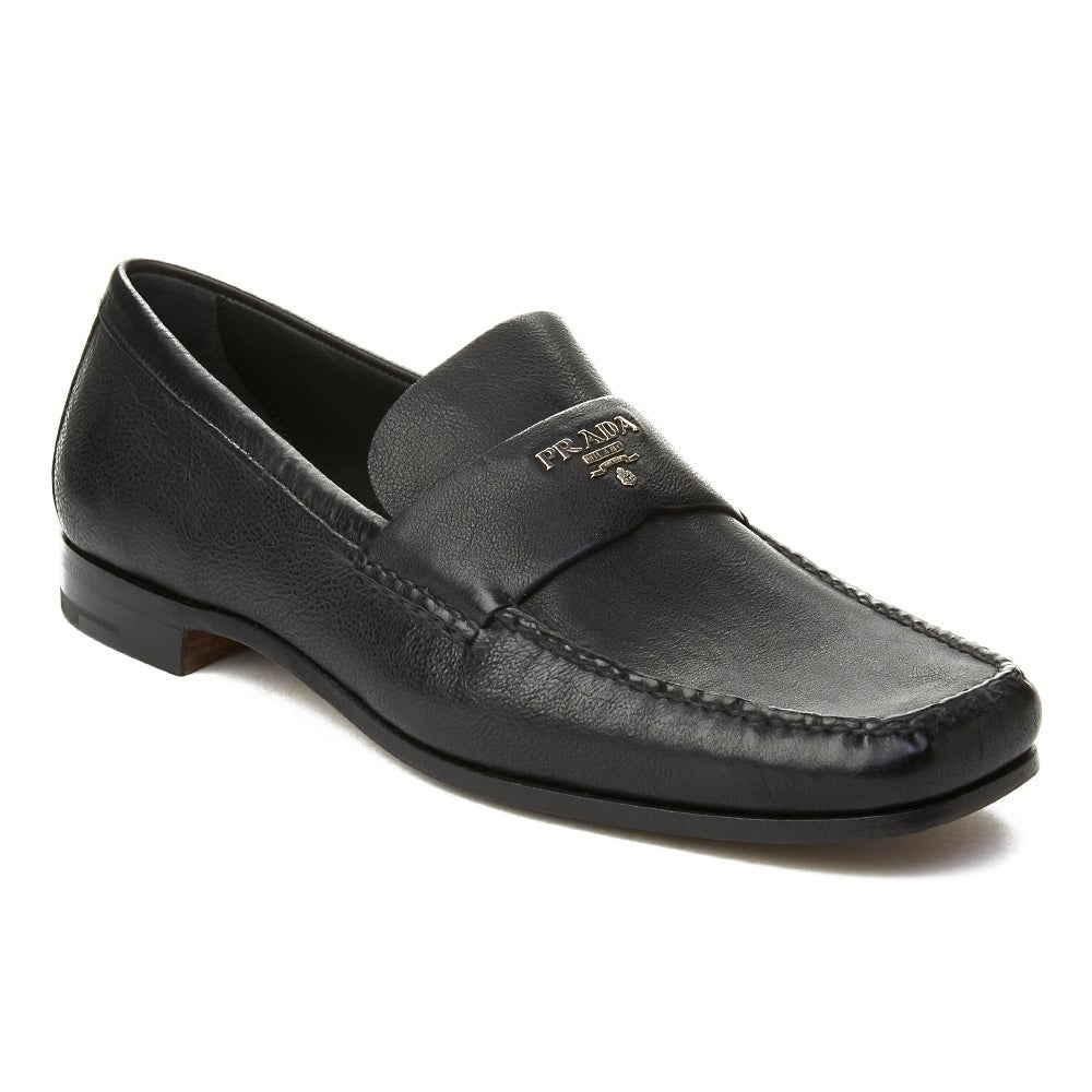 a29994639e2 Shop Prada Men s Leather Embellished Penny Loafer Shoes Black - Free  Shipping Today - Overstock - 20516428