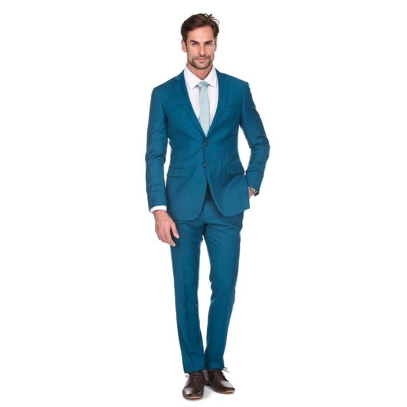 Shop Porto Filo 100 Wool Teal Color 2pcs Slim Suit Coat Pant