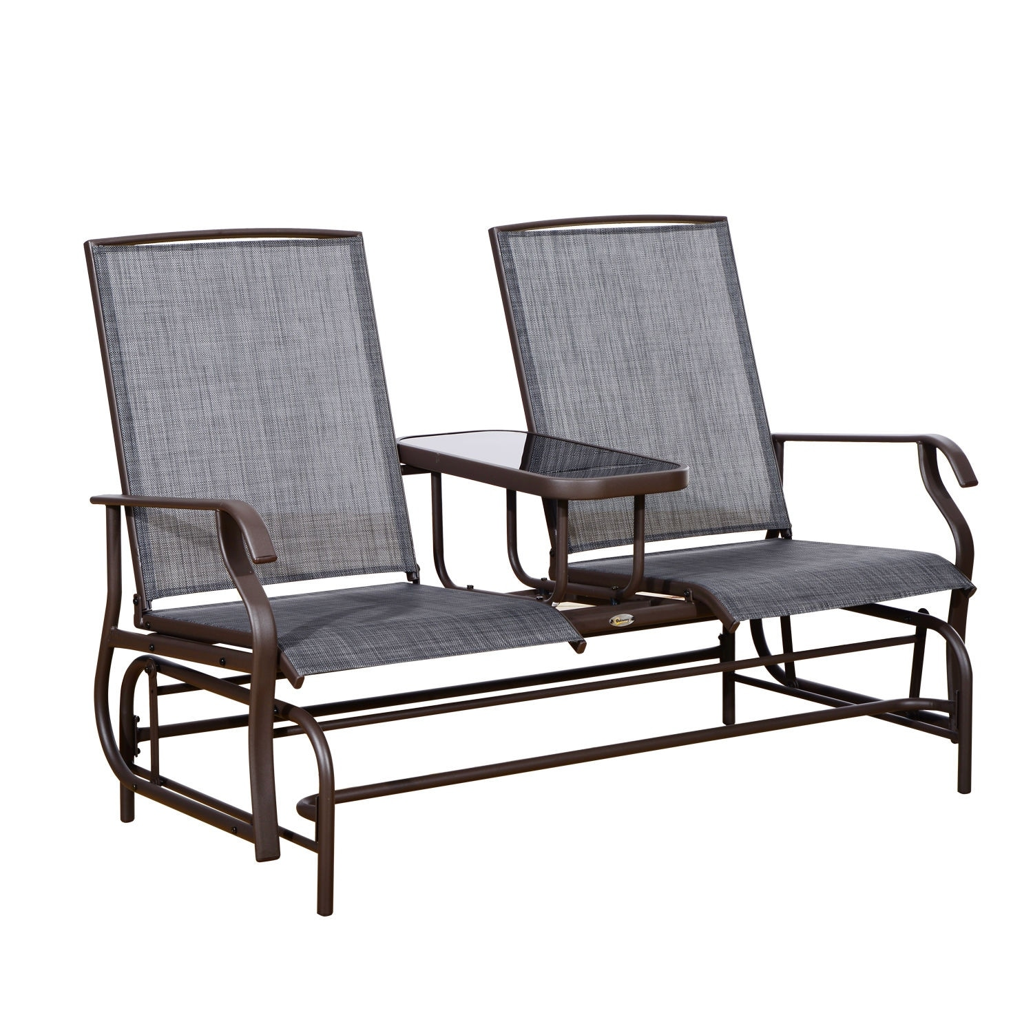 Outsunny Two Person Outdoor Mesh Fabric Patio Double Glider Chair With Center Table On Sale Overstock 18013207