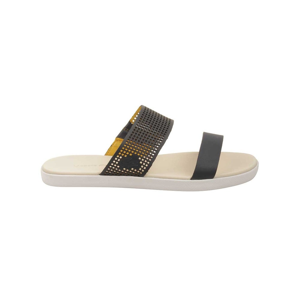 7e216dc45 Shop Lacoste Womens Natoy Slide 216 Sandals in Navy Light Yellow - Free  Shipping Today - Overstock - 16069449
