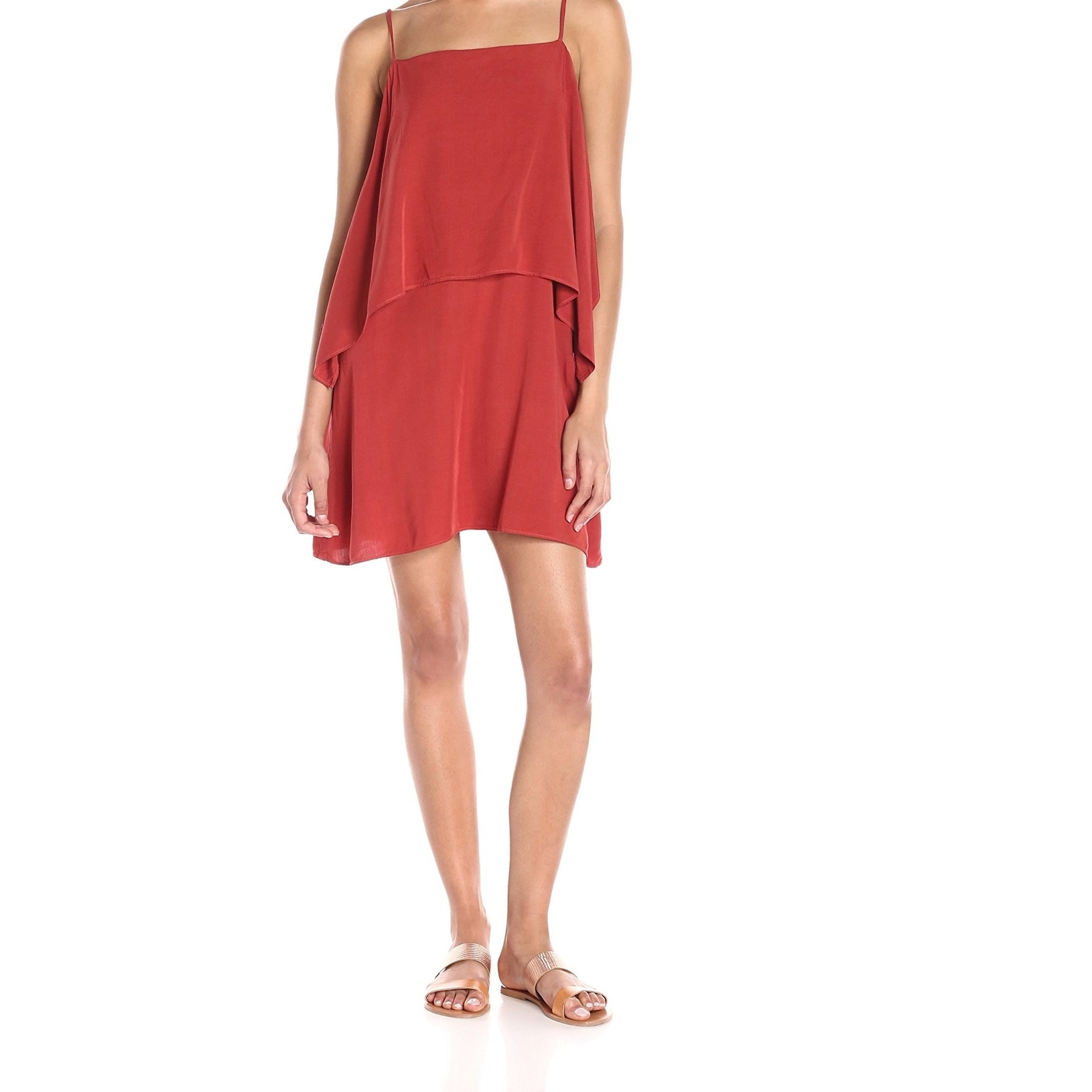 3a45b58208 Shop Splendid NEW Brick Red Women's Size Large L Layer A-Line Tank Dress -  Free Shipping Today - Overstock - 20730469