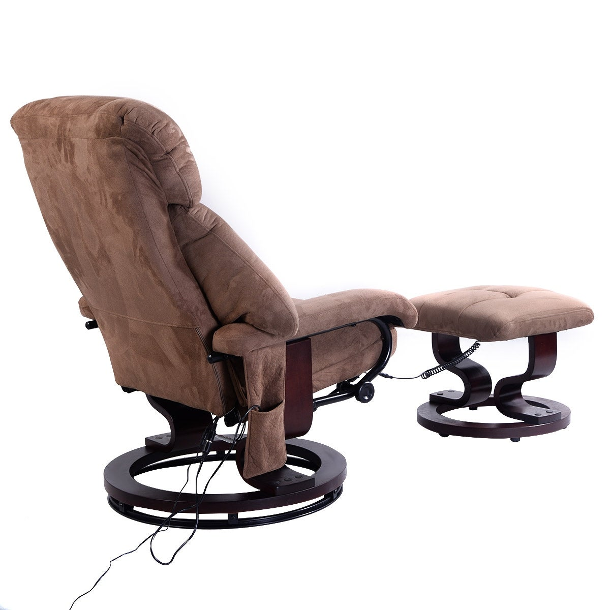 Costway Brown Leisure Recliner Chair Ottoman With 8 Motor Massage Heated  Swivel   Free Shipping Today   Overstock.com   24623499