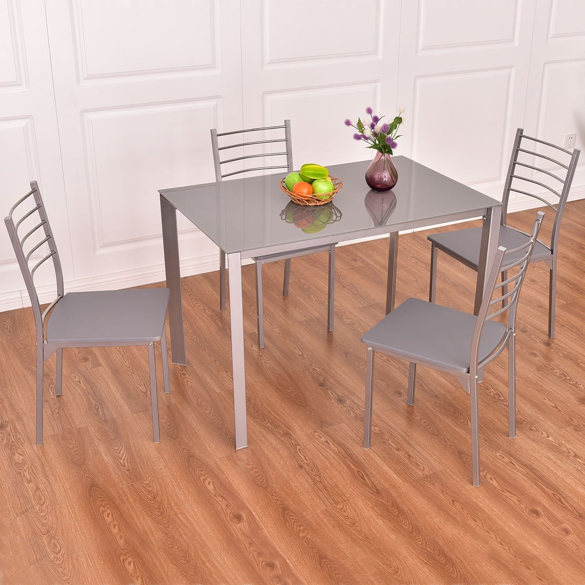 Shop Costway Tempered Glass Table Top 5 PCS Dining Set Kitchen Furniture    Free Shipping Today   Overstock.com   17056588