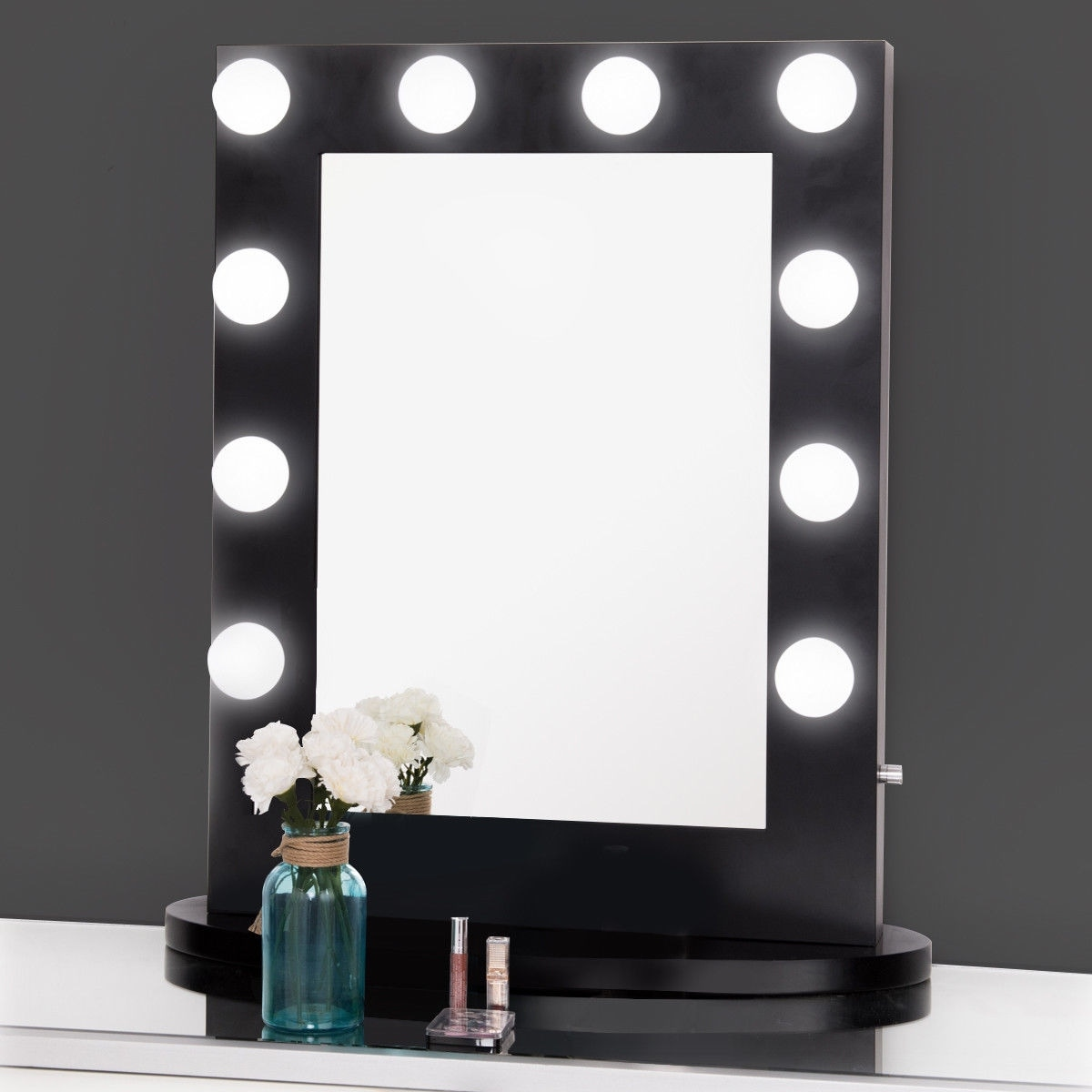 Gymax Hollywood Makeup Vanity Mirror Lighted Tabletops Dimmer Led Illuminated Black