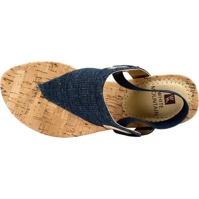 67b722ac42342 Shop White Mountain Women's Aida Thong Wedge Sandal Dark Denim Fabric -  Free Shipping Today - Overstock - 14750569
