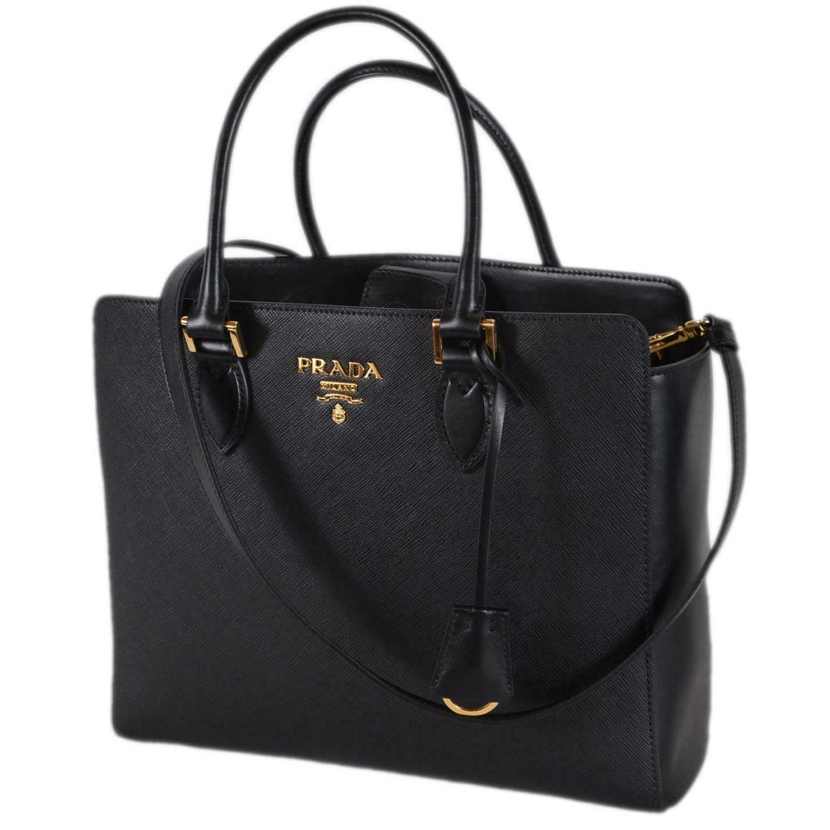 54a9ac472b Shop Prada 1BA189 Black Saffiano Leather Plaque Logo 2-Way Purse Handbag  Tote - Free Shipping Today - Overstock - 27589119