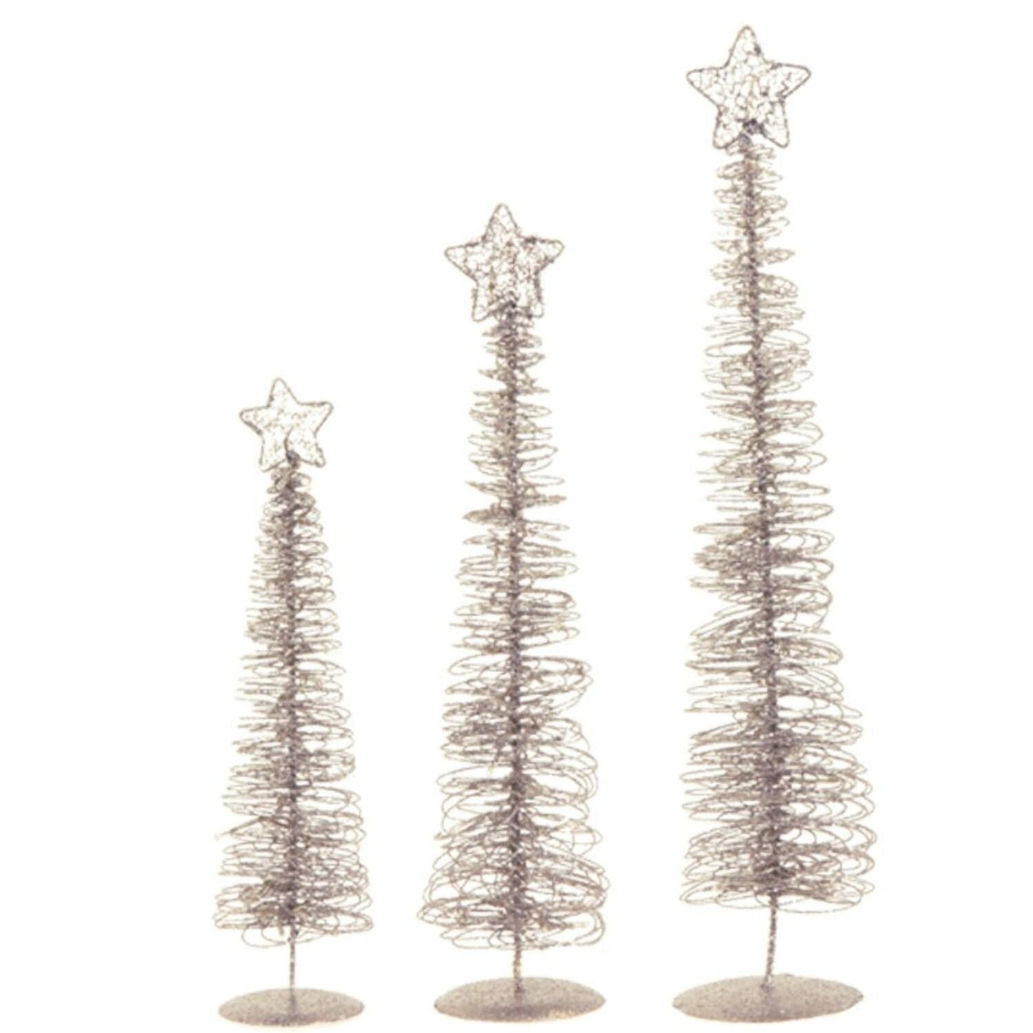 shop set of 3 winter light silver glittered spiral christmas tree lighted table top decorations 24 free shipping today overstockcom 16555549 - Spiral Christmas Tree Lighted