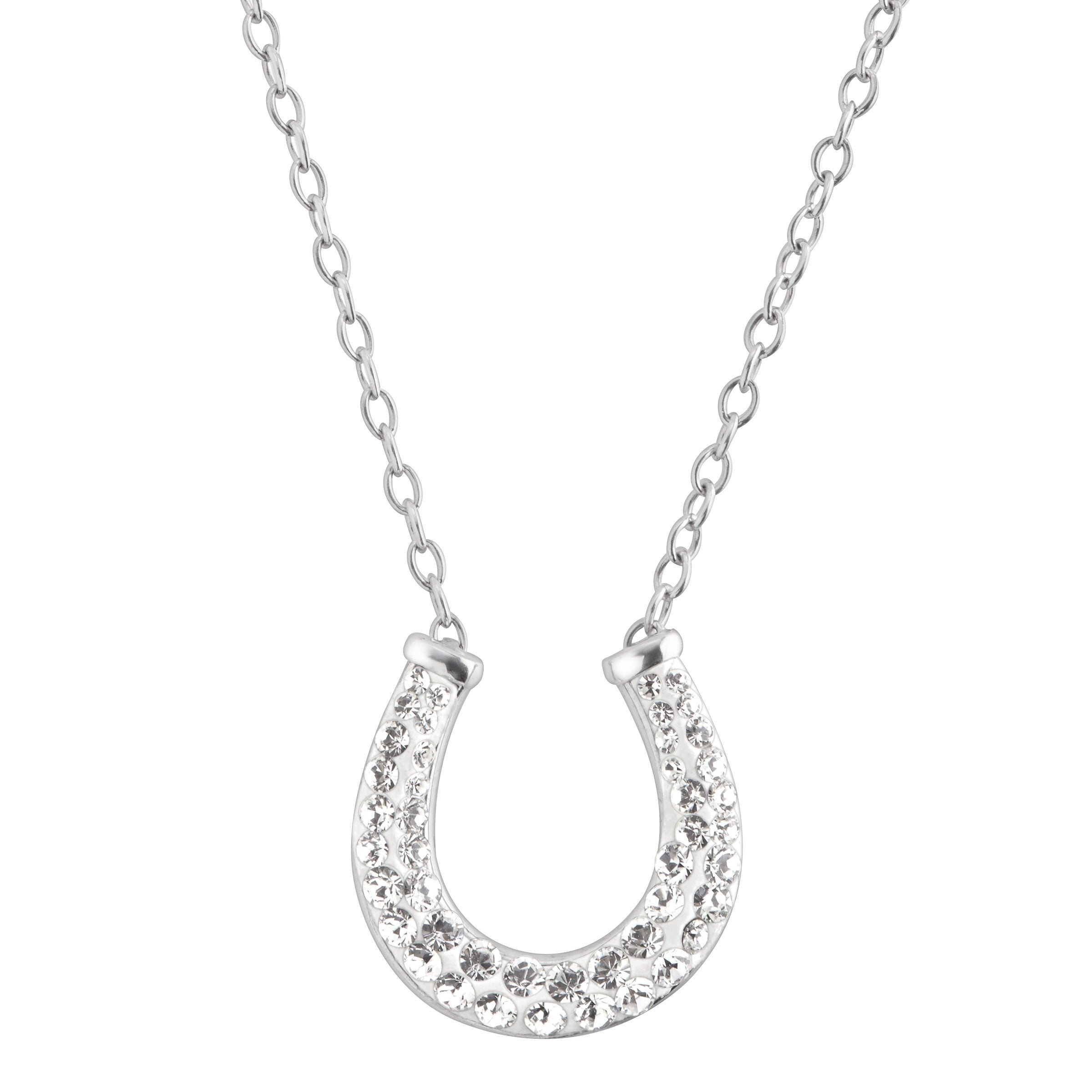 today silver necklace shipping free miadora pendant horseshoe watches product jewelry topaz white overstock sterling