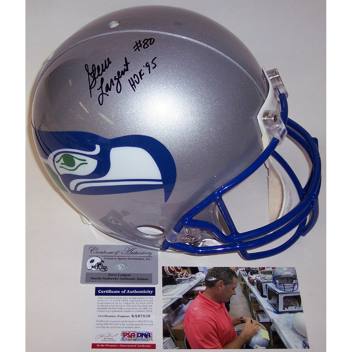 5ecbf36b Steve Largent Autographed Hand Signed Seattle Seahawks Throwback Authentic  Helmet - PSA/DNA