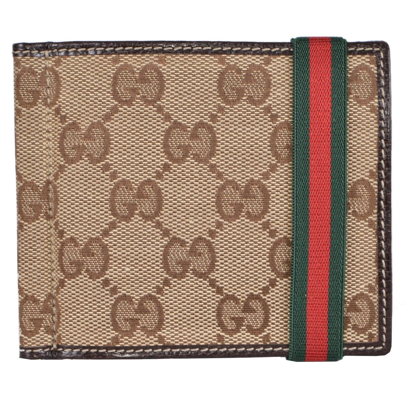 7cc961b58a3 Shop Gucci Men s 224187 Beige Canvas GG Red Green Web Band Money Clip Wallet  - Free Shipping Today - Overstock - 12371905