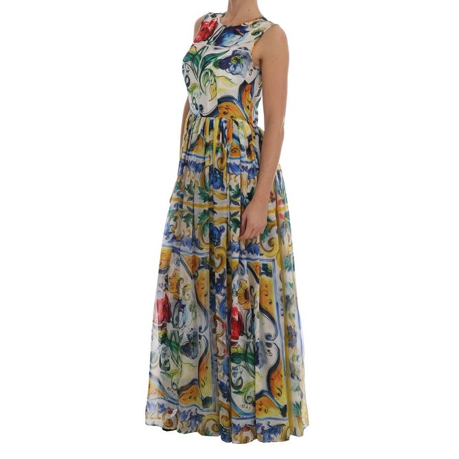 3174f1f8 Shop Dolce & Gabbana Majolica Print Silk A-line Maxi Dress - 46-l - Free  Shipping Today - Overstock - 27568133